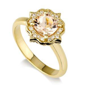 טבעת אירוסין Morganite - זהב 14K