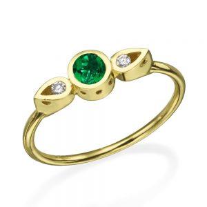 טבעת צ'ויס אמרלד  - זהב 14K