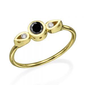 טבעת צ'ויס יהלום שחור  - זהב 14K