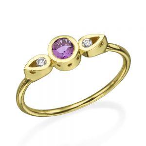 טבעת צ'ויס אמטיסט  - זהב 14K