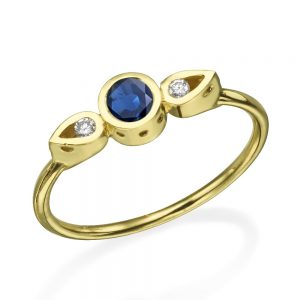 טבעת צ'ויס ספיר  - זהב 14K