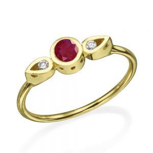 טבעת צ'ויס רובי  - זהב 14K