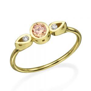 טבעת צ'ויס מורגנייט - זהב 14K