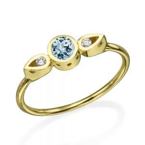 טבעת צ'ויס אקווה מארין - זהב 14K