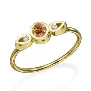 טבעת צ'ויס יהלום שמפניה  - זהב 14K
