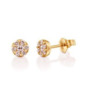 עגילי יהלומים שמש זהב 14K