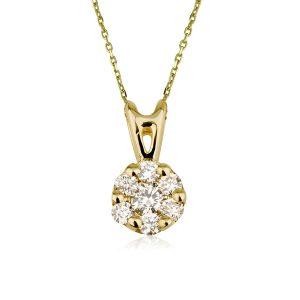 שרשרת יהלומים שמש זהב 14K