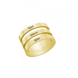 טבעת חריטה חישוק תלת- זהב 14K