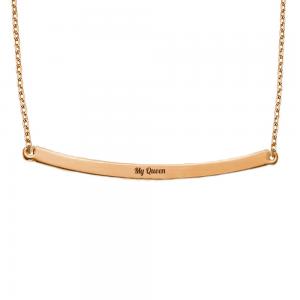 שרשרת חריטה פלטה אליפטית מוארכת - זהב 14K