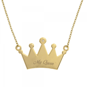 שרשרת חריטה מלכה זהב- 14K