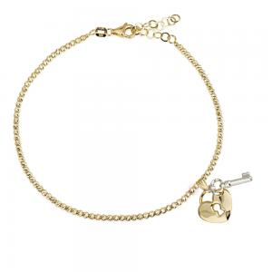 צמיד כדורים חיתוכי לייזר בתוספת תליון מפתח הלב – זהב 14K