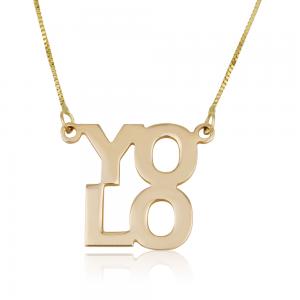 שרשרת YOLO בעיצוב אישי - זהב 14K