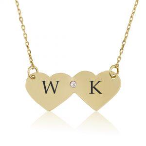 שרשרת דאבל הארט עם יהלום - זהב 14K