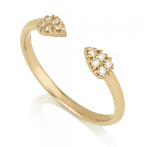 טבעת חצי- טיפות יהלומים