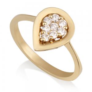 טבעת יהלומים טיפה זהב 14K