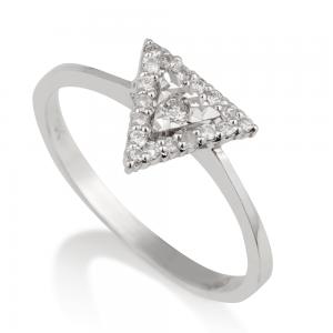 טבעת יהלומים משולש זהב 14K