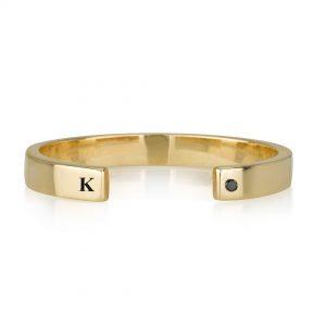 טבעת חריטה פתוחה עם יהלום - זהב 14K