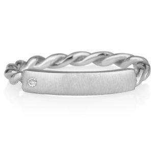טבעת חריטה דגם צמה עם יהלום- זהב 14K