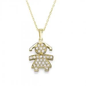 שרשרת + תליון ילדה יהלומים  - זהב 14K
