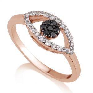 טבעת יהלומים עין- זהב 14K