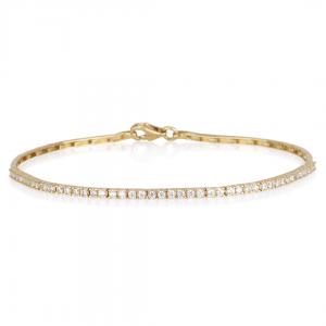 צמיד טניס בייסיק משובץ יהלומים  - זהב 14K