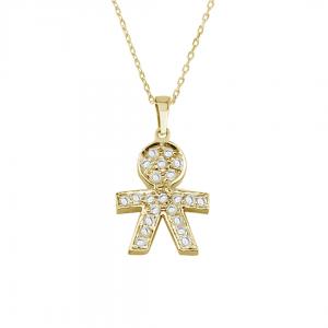 שרשרת + תליון ילד יהלומים  - זהב 14K