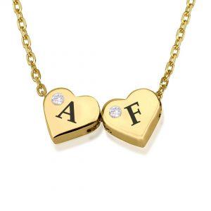 שרשרת חרוזי לבבות זוג תליונים עם יהלומים - זהב 14K