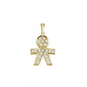 תליון ילד יהלומים  - זהב 14K