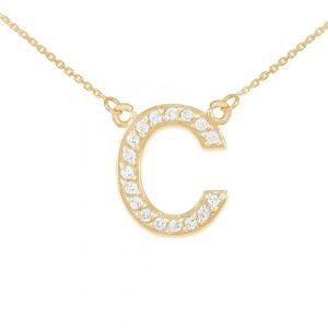 שרשרת יהלומים C - זהב 14K