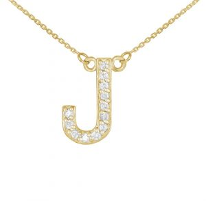 שרשרת יהלומים J - זהב 14K