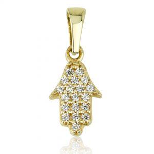 תליון חמסה יהלומים - זהב 14K