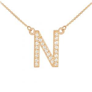 שרשרת יהלומים N - זהב 14K