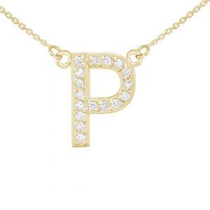 שרשרת יהלומים P - זהב 14K