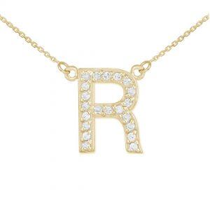 שרשרת יהלומים R - זהב 14K