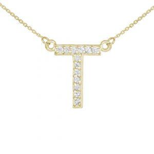שרשרת יהלומים T - זהב 14K