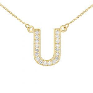 שרשרת יהלומים U - זהב 14K