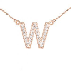 שרשרת יהלומים W - זהב 14K