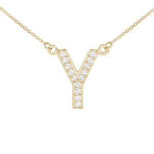 שרשרת יהלומים Y - זהב 14K