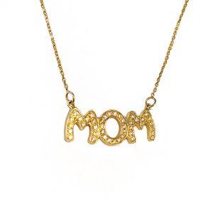 שרשרת MOM עם יהלומים- זהב 14K