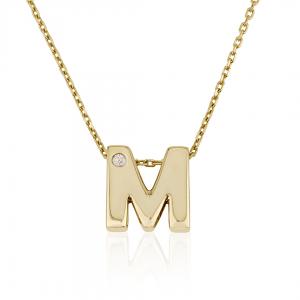 שרשרת אות בעיצוב אישי עם שיבוץ יהלום - זהב 14K